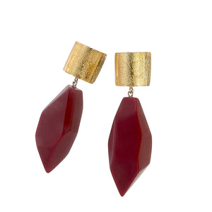 8270502earring DOLOMITES 2beads pin, goldleaf/red
