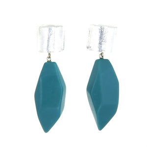 8270502STURQ00 earring DOLOMITES 2beads pin, silverleaf/turquoise