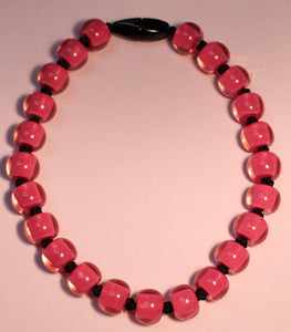 40101189017Q23 Colourful Beads Pink Beads Black Cord 9017 Q23