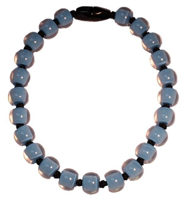 40101189131Q23 Necklace 118 colorfulbeads2 Skyblue Beads Black Cord 9131 Q23