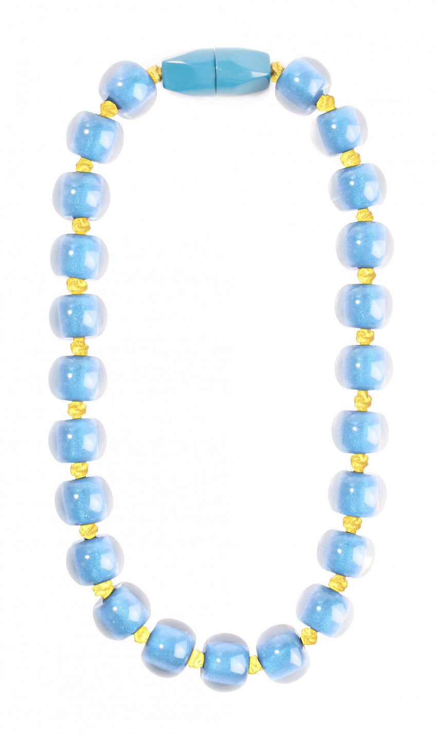 40101189192Q23 Necklace 118 colorfulbeads2 Blue Beads Olive Cord 9192 Q23