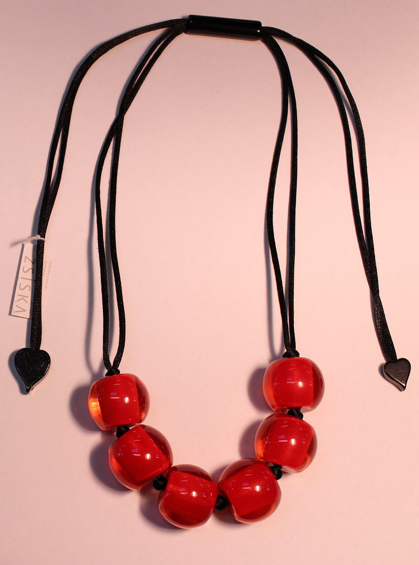 40101209013Q06 Colourful Beads Red Bead Black Cord 9013
