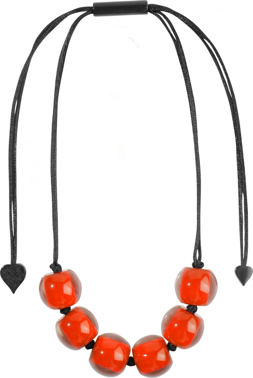 40101209016Q06 Colourful Beads Orange Bead Black cord 9016