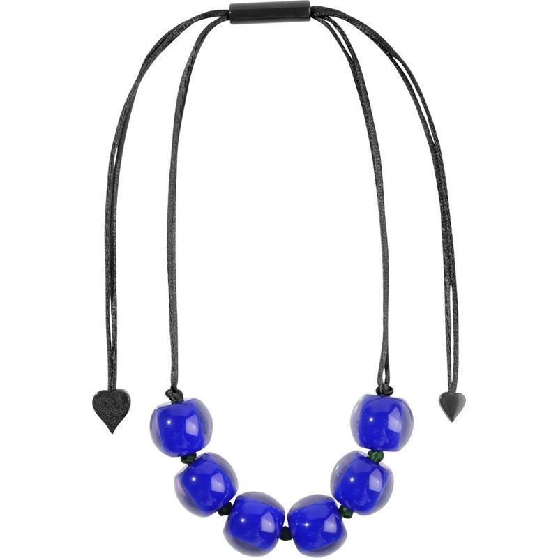 40101209069Q06 Colourful Beads Blue Bead Black Cord 9069