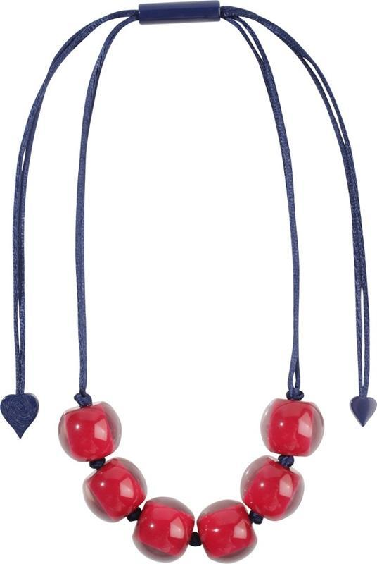 40101209187Q06 Colourful Beads Red Beads Dark Blue Cord 9187
