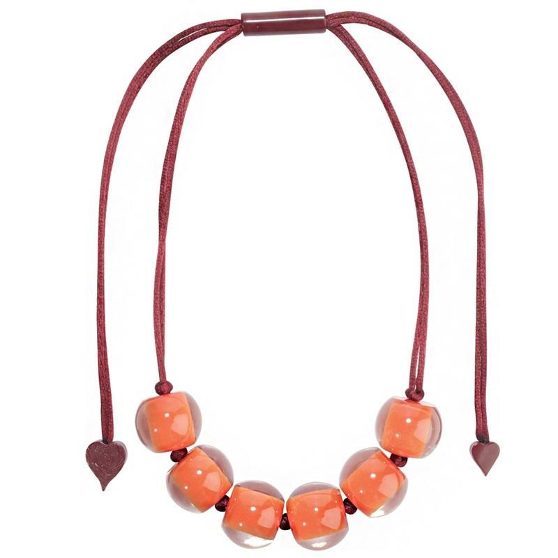4010120YP02Q06 Colourful Beads Orange Bead Red Cord YP02