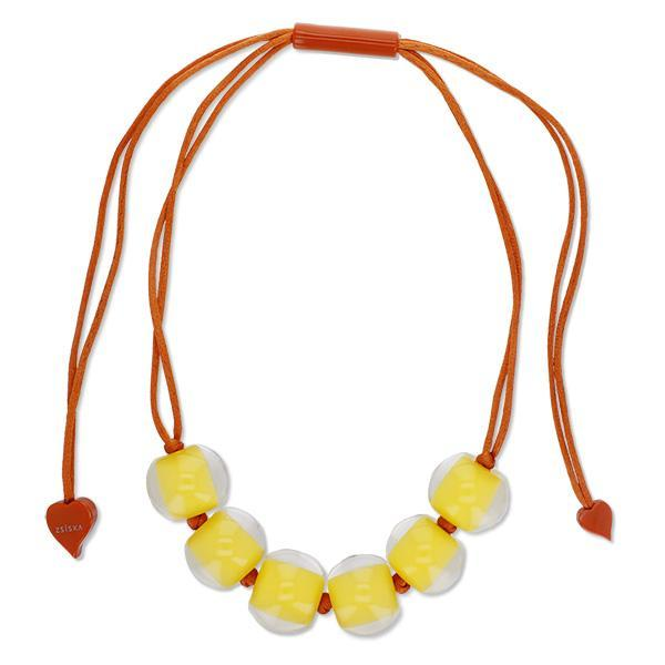4010120YP03Q06 Colourful Beads Yellow Bead Orange cord YP03