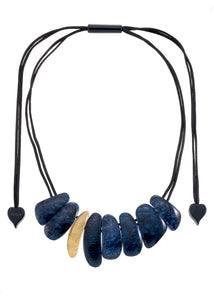 9270101necklace ETNA 8beads adjust, goldleaf/blue