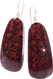 9270502earring ETNA 1bead shorthook, goldleaf/red