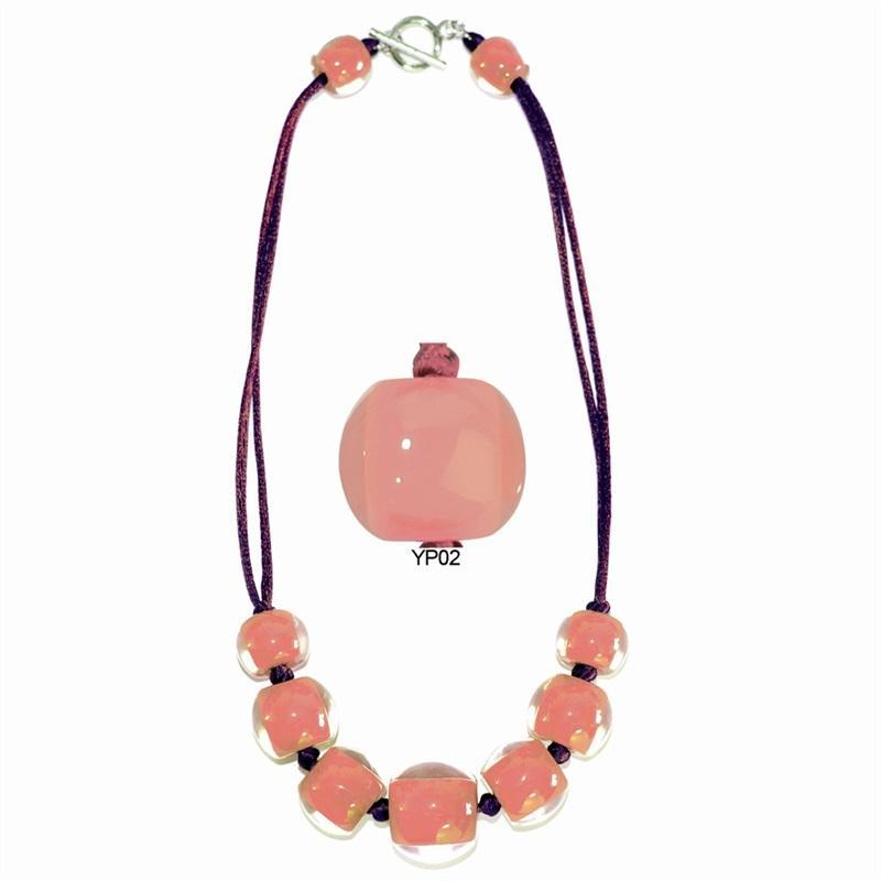 4010121BP02Q07 Colourful Beads Peach Pink Cord BP02 Q07