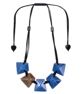 9300102BLUBQ05 necklace HERRERA 5beads adjust, blue/brown