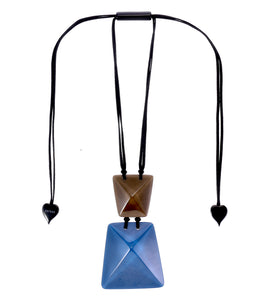 9300201BLUBQ00 pendant HERRERA 2beads adjust, blue/brown