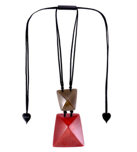 9300201REDBQ00 pendant HERRERA 2beads adjust, red/brown