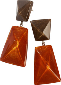9300501ORABQ00 earring HERRERA 1bead shorthook, orange/brown