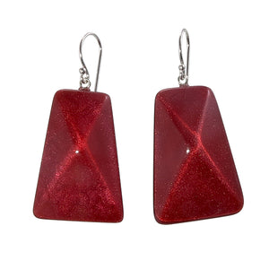9300502REDBQ00 earring HERRERA 1bead shorthook, red/brown