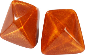 9300503ORABQ00 earring HERRERA 1bead pin, orange/brown