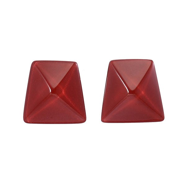 9300503REDBQ00 earring HERRERA 1bead pin, red/brown