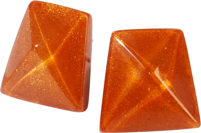 9300504ORABQ00 earring HERRERA 1bead pin, orange/brown