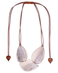 9330101BEIGQ03 necklace ELIA 3beads adjust, beige