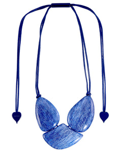 9330101BLUEQ03 necklace ELIA 3beads adjust, blue