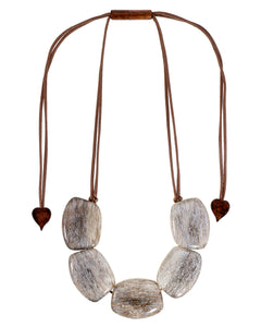 9330102BEIGQ05 necklace ELIA 5beads adjust, beige