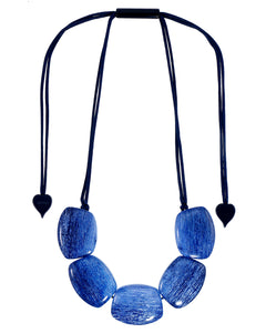 9330102BLUEQ05 necklace ELIA 5beads adjust, blue