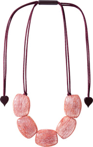 9330102PINKQ05 necklace ELIA 5beads adjust, pink