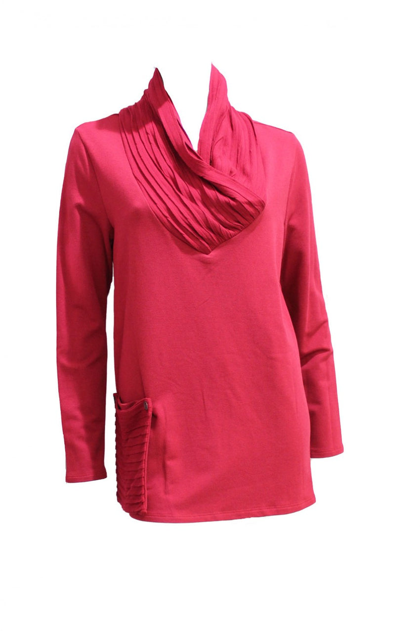 Red Chalet Tunic with Detachable Pocket Style and Grace