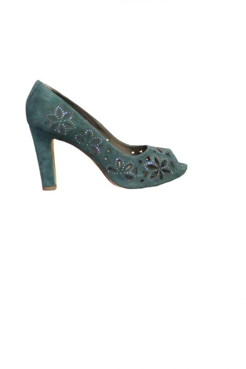 Green Suede Progetto Heel Style and Grace