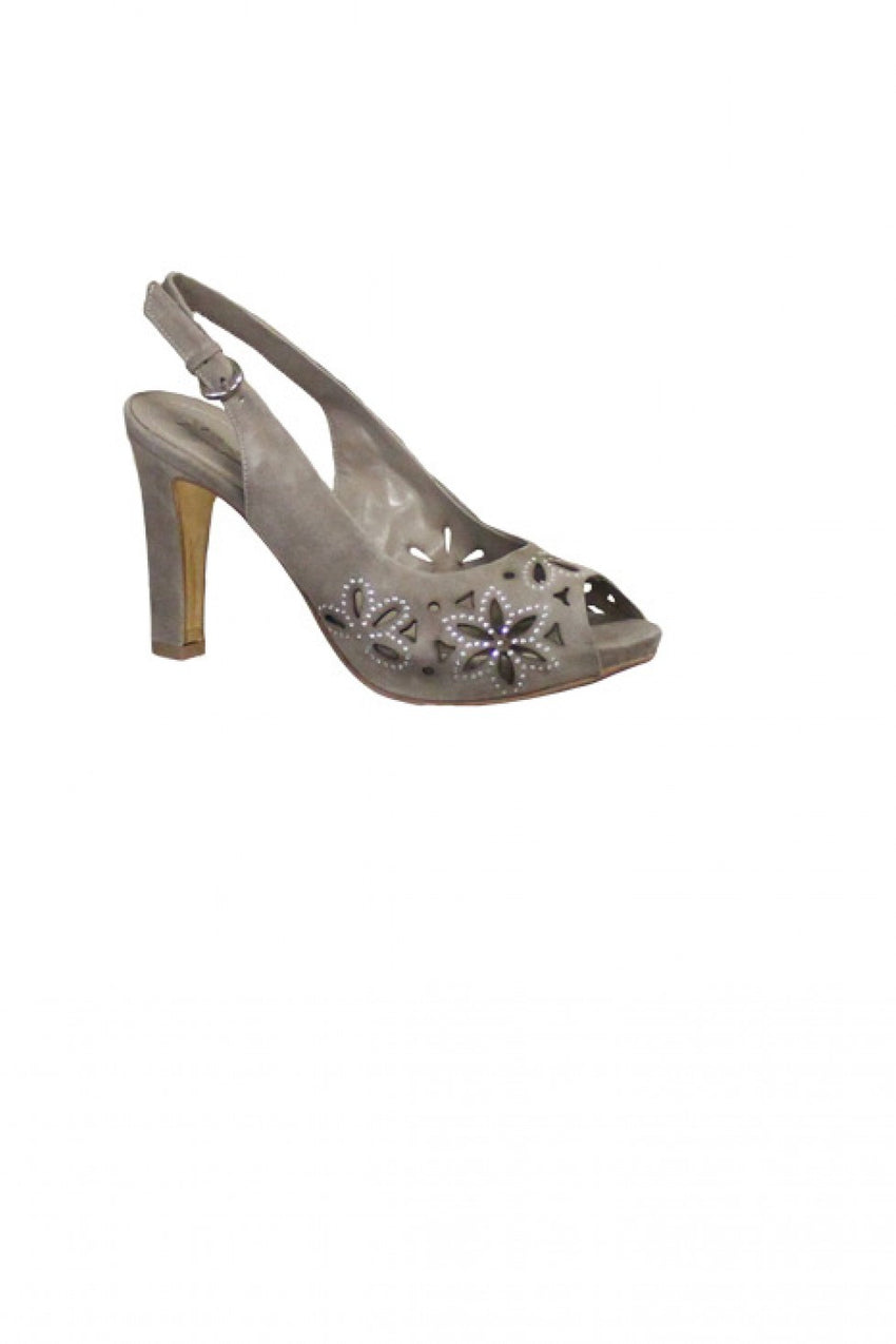Taupe Suede Progetto Peep Toe Sling Back Heel Style and Grace