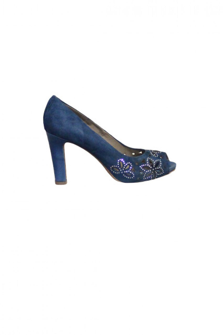 Blue Suede Progetto Peep Toe Heel Style and Grace