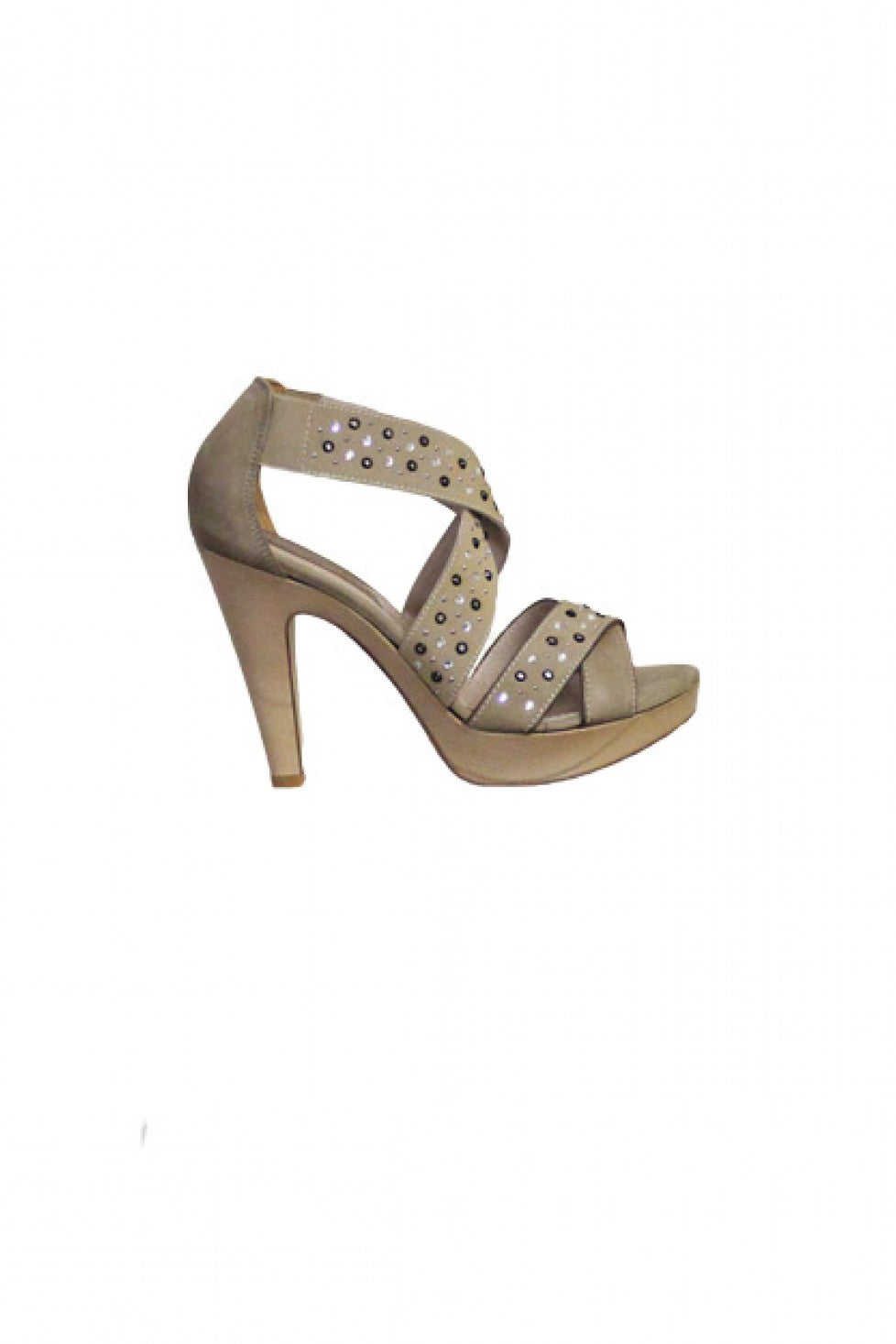 Tan Studded Progetto Sandal Heel Style and Grace