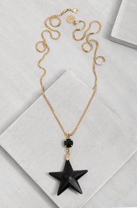 GLN031-1 Black Star Glam Necklace /Gold