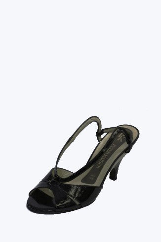Black Patent Leather Peter Kaiser Heel with Strap Style and Grace