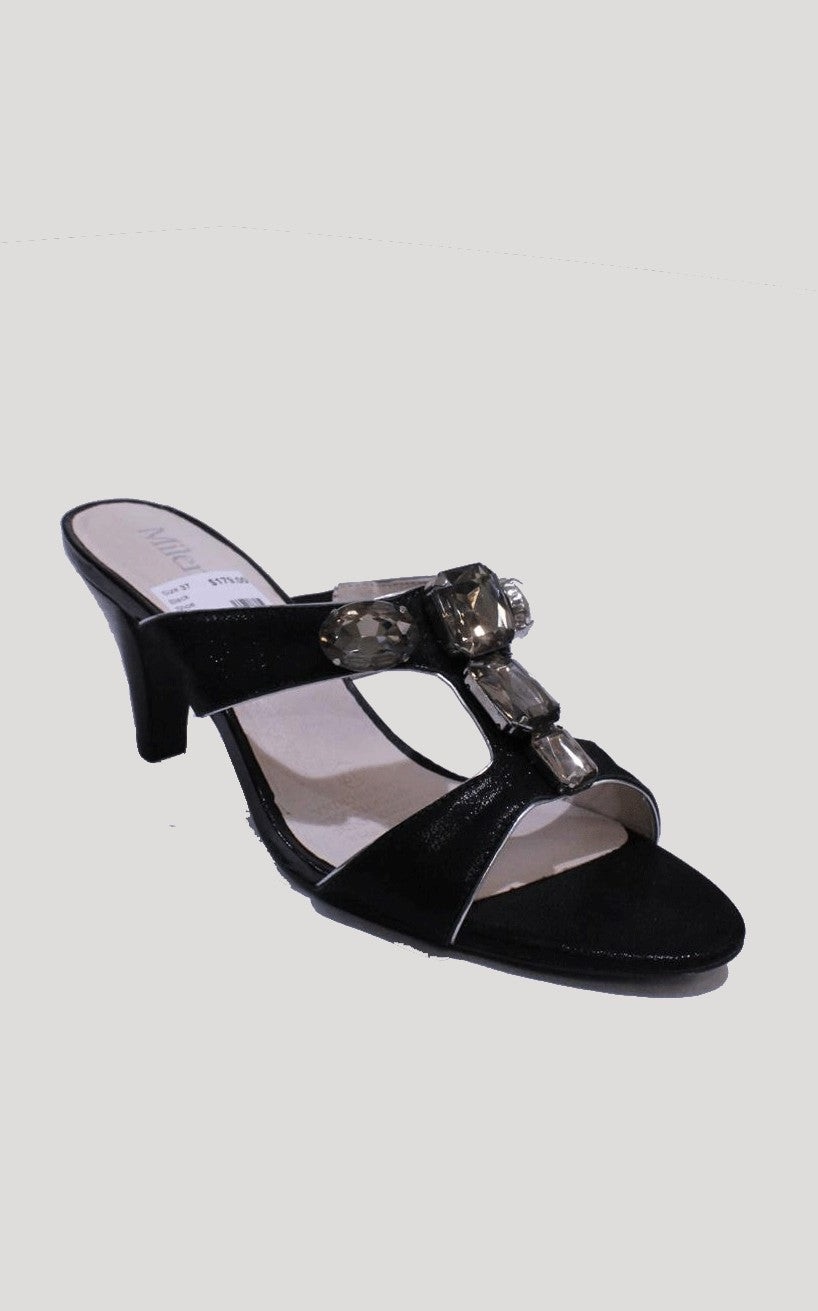 Black Shiney Strapless Mileno Sandal Heel with Jewel Detail Style and Grace