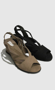 Dark Taupe Open Toe Magnini Sandal with Heel Style and Grace