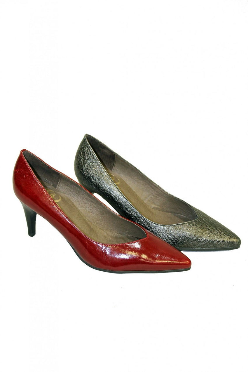 Pointed Karston Heel Nero and Burgundy Style and Grace