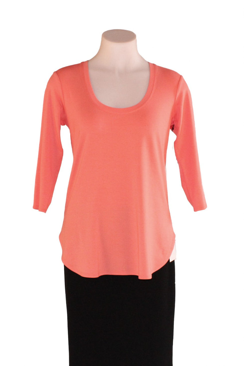 Coral 3/4 Sleeve Mela Purdie Travel Top Style and Grace