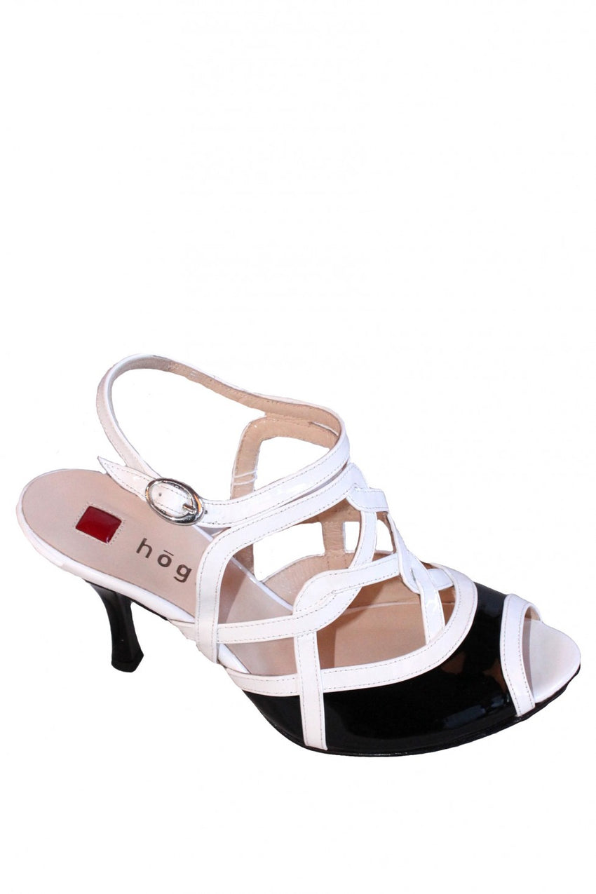 Black and White Patent Leather Hogl Sandal Heel Style and Grace