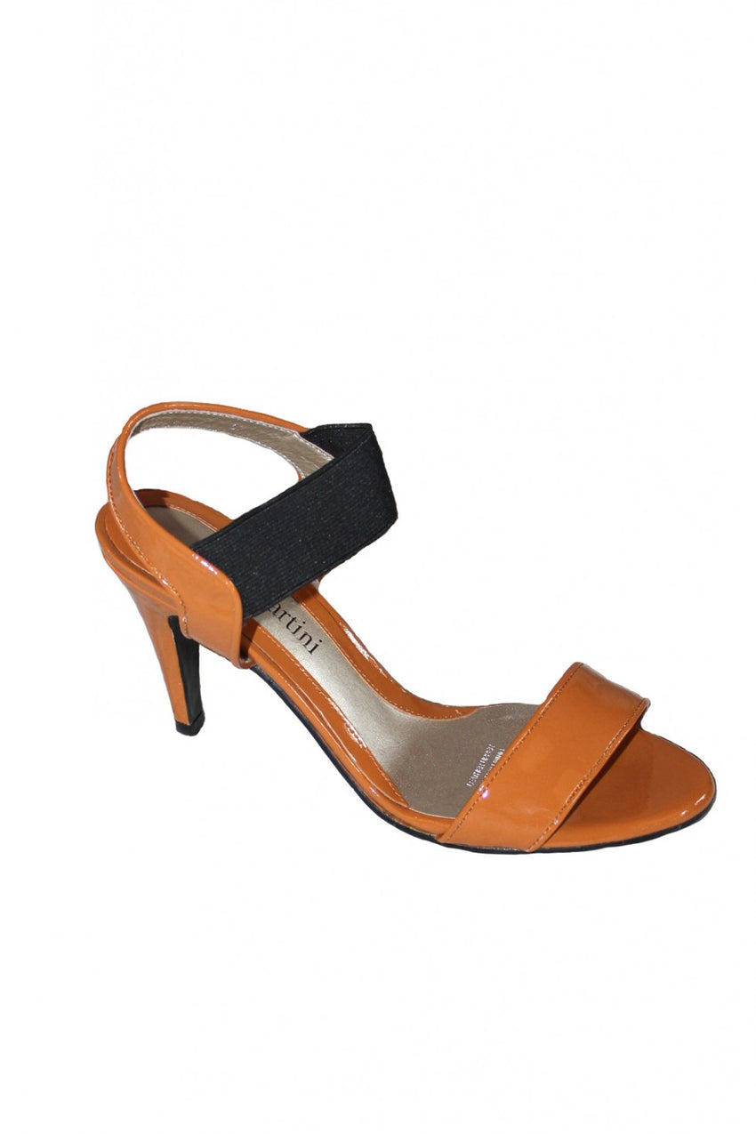 Tan Patent and Black Elastic Mina Martini Sandal Heel Style and Grace