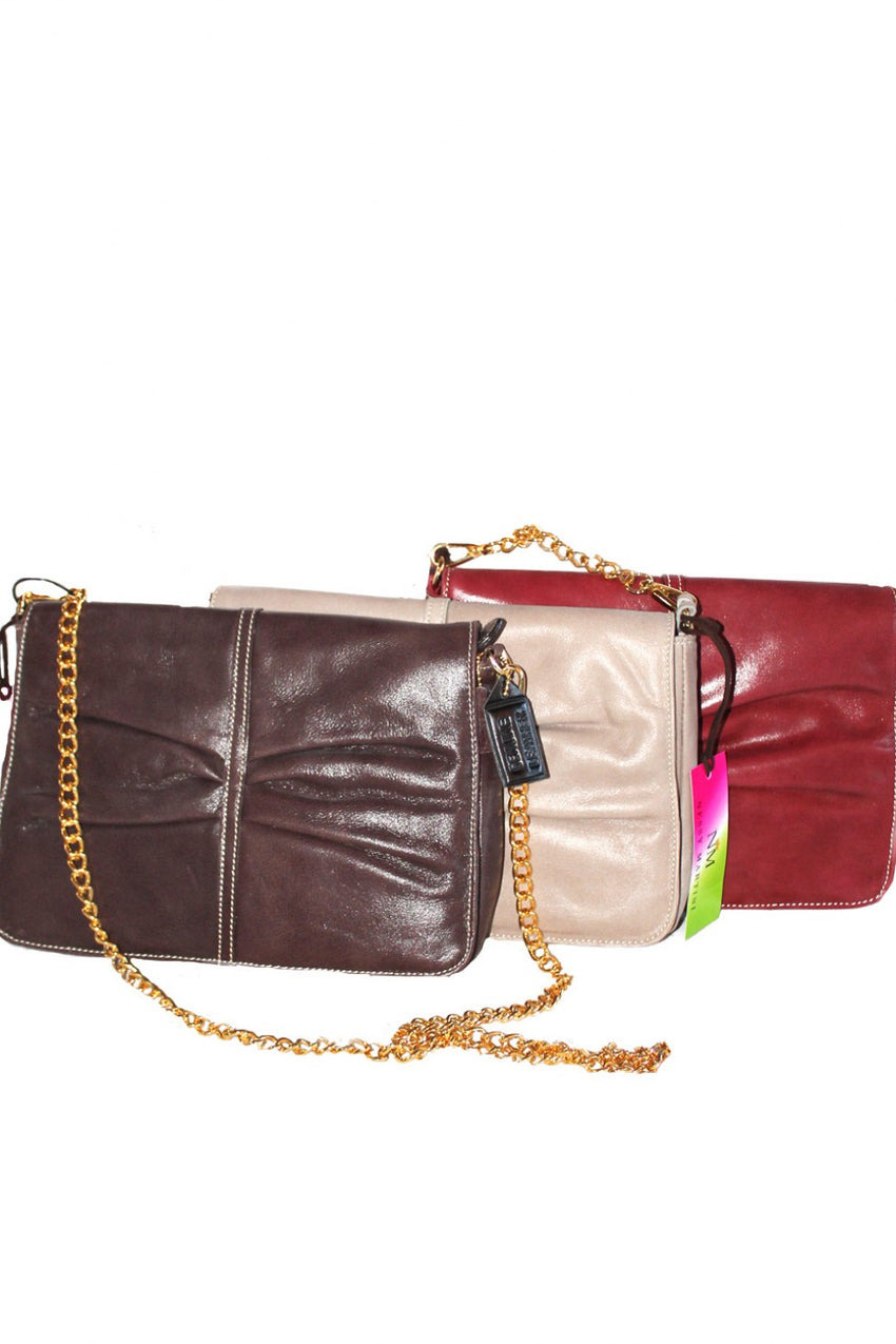 Leather Nessi Martini Bag with Gold Chain Strap Style and Grace