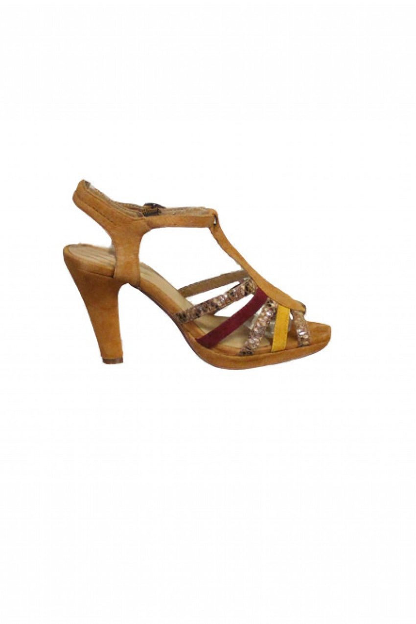 Tan Strappy Karston Sandal Heel Style and Grace