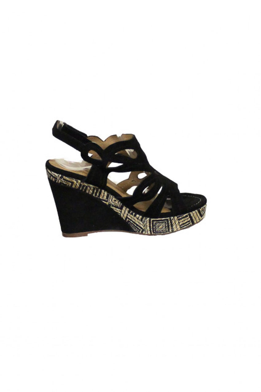 Black Karston Wedge Sandal Style and Grace