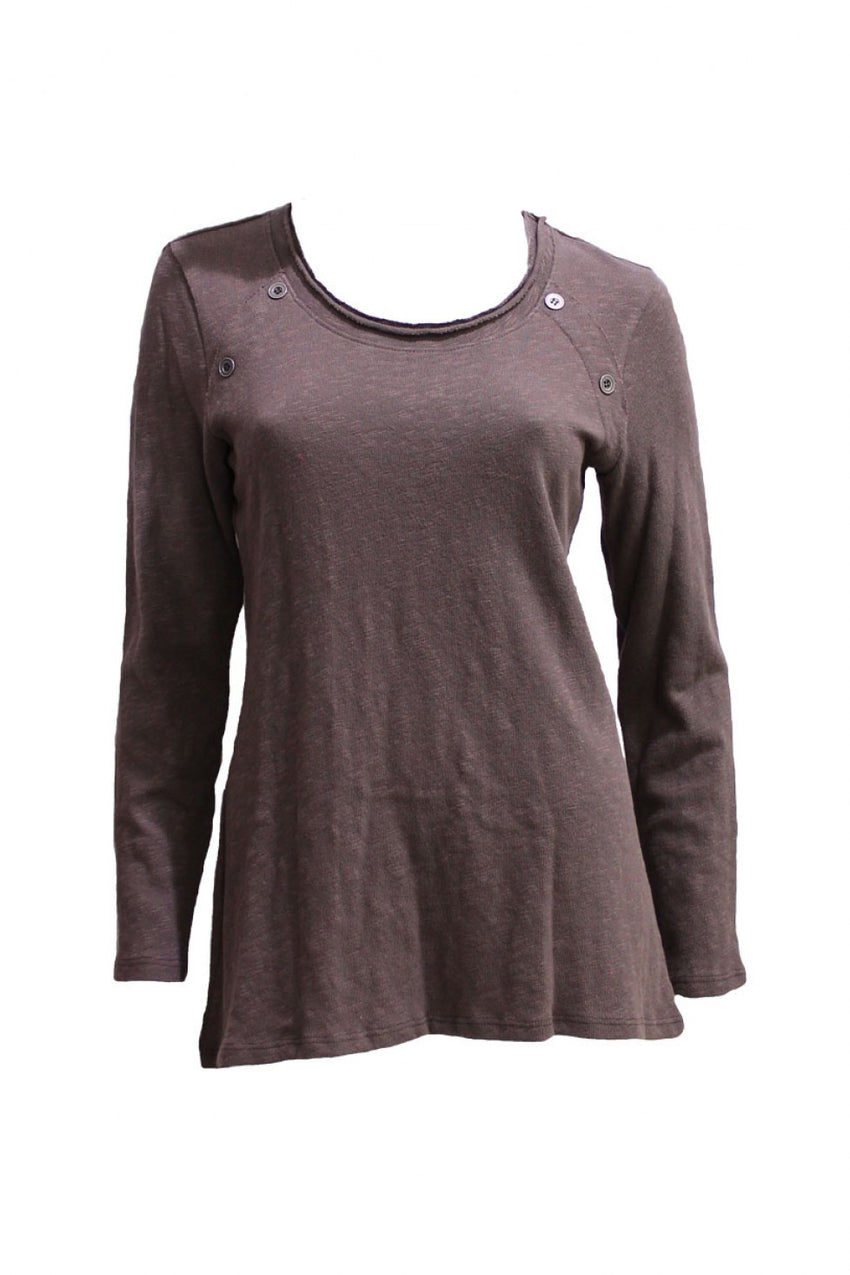 Brown Cola Long Sleeve Tunic Style and Grace