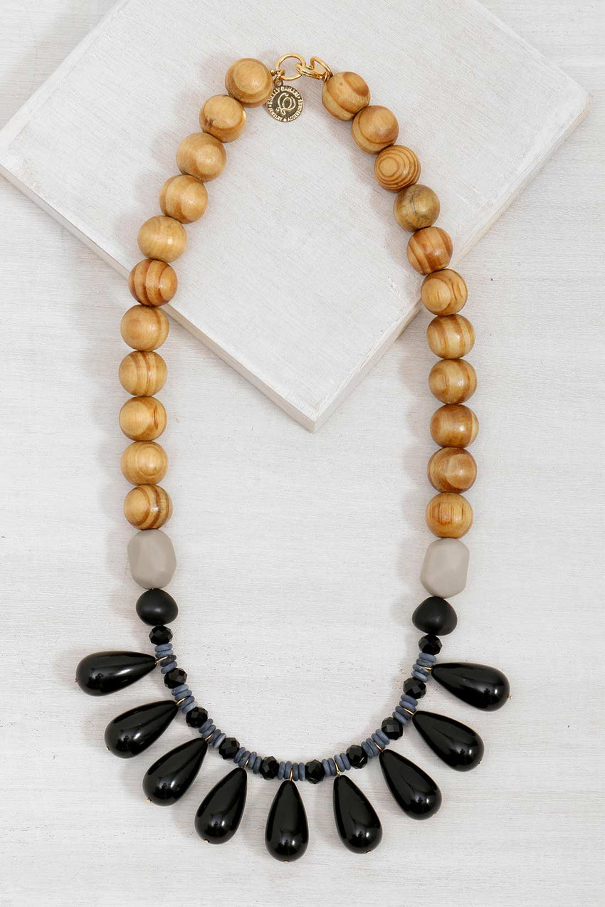 DN717-22 Drops Necklace Black