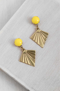 ER121-3 Brass Kite Earrings Yellow