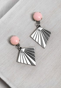 ER127-4 Silver Kite Earrings Rose Quartz