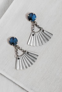 ER143-1 Blueberries Metalic Earrings Silver