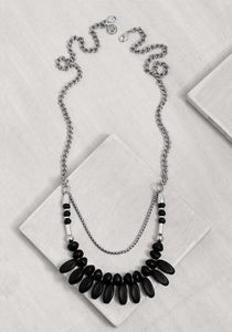 GLN014 Glam Black Drops Necklace/Silver