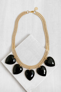 GLN-1 Five Hearts Necklace Gold